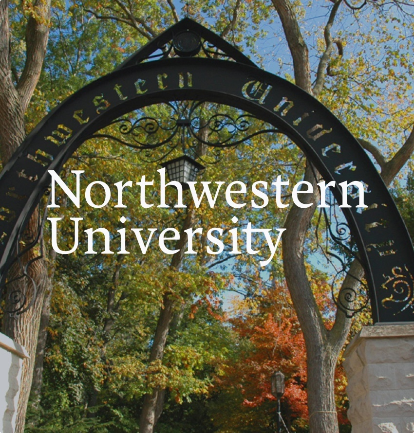 A square photo of Northwestern University's entrance arch, with the school logo overlaid on top.